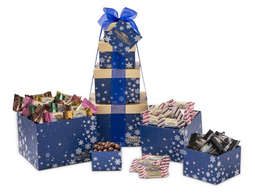 Chocolate Usa Gift Tower - Ghirardelli Holiday Chocolate Tower, Winter Whishes, 4 Count, 1.75 lb.