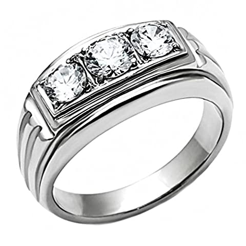 Navarro: Mens 1.0ct Ice on Fire CZ 3 Stone Journey Wedding Band Ring 316 Steel, 3048 sz 11.0 (Ice Jewelry For Men)