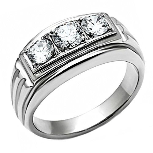 Navarro: Mens 1.0ct Ice on Fire CZ 3 Stone Journey Wedding Band Ring 316 Steel, 3048 sz 8.0 - Gents One Stone Ring