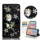 STENES Bling Wallet Phone Case Compatible with Samsung Galaxy A10e - Stylish - 3D Handmade Pretty Rose Flowers Floral Leather Cover with Screen Protector & Neck Strap Lanyard - Black