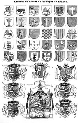 Grabado antiguo (1845) - Litografía - Escudos De Armas De Los ...