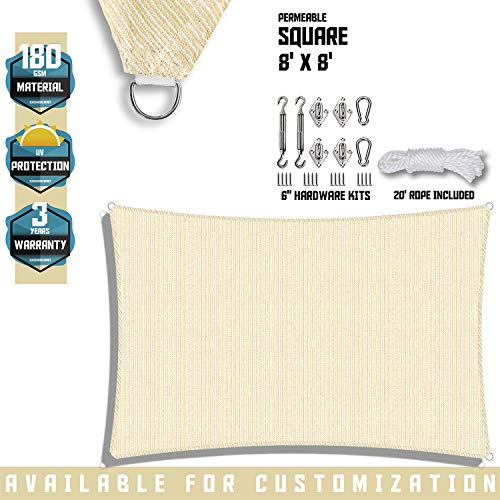 TANG Sunshades Depot 8 x8 Beige Sun Shade Sail with 6 in Hardware Kit 180 GSM Square UV Block Durable Fabric Outdoor Canopy Patio Garden Yard Pergola Kindergarten Playground Custom