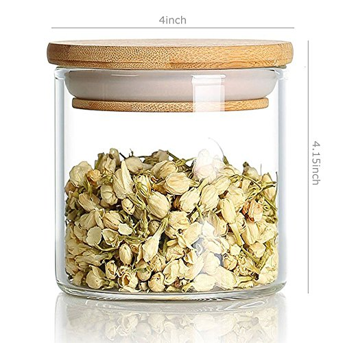 DecentGadget Clear Borosilicate Glass Airtight Canister with Bamboo Lid and Silicone Sealing Ring Storage Jar for Candy Tea Cookie Nuts Cereal (760ml) (Jar Suction)