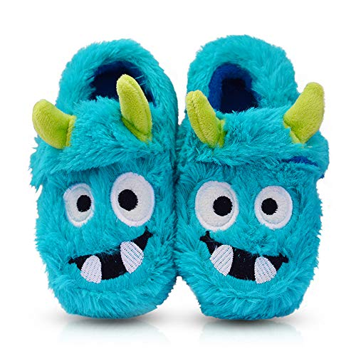 Cartoon House - Boy's Winter Warm Fluffy Monster Bedroom House Cartoon Slippers Size Toddler 7 US Blue