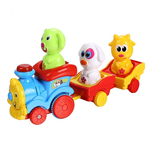 Arshiner Toddler Puppy's Music Light Cartoon Animal Train Toys by Arshiner