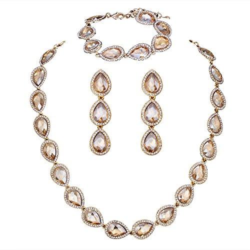 [Wedding Bridal Austrian Crystal Teardrop Jewelery sets for Women (1 Set Earrings,1 PCS Necklace, 1 PCS Bracelet) M&M Jewelry] (Butterfly Costume Jewelry)
