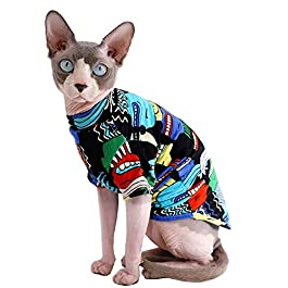 Sphynx Hairless Cat Fashion & Cool Breathable Summer Cotton Shirts Pet Clothes with Gold Necklace Collar, Yellow Kitten T-Shirts with Sleeves, Cats & Small Dogs Apparel