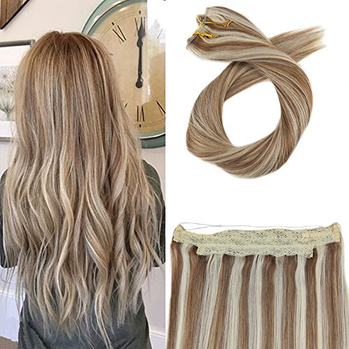 Moresoo 18 Inch Invisible Wire Remy Hair Extensions 80 Grams Hair Extensions Real Human Hair Extensions #6 Brown Mixed with #60 Blonde Hair Extensions Halo Real Human Hair