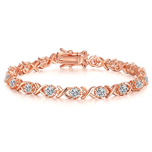 Bracelets Tennis Gold Gemstone (Vibrille Tennis Bracelet Luxury Women's Jewelry Infinity XO Cubic Zirconia Bridal Crystal Bangle Mom Daughter in Rose Gold Plated Sterling Silver for Women Girls for Her)