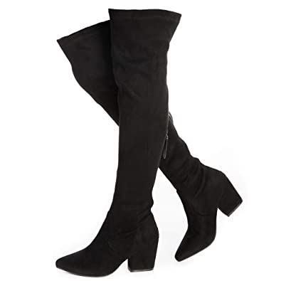 96e4e0d58d87 YANWENFANG Women Over The Knee Boots Chunky Heel Zipper Stretch Boots Point  Toe Knee High Boots