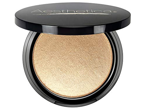 (Aesthetica Starlite Highlighter - Metallic Shimmer Highlighting Makeup Powder - Phoenix (Warm Copper))