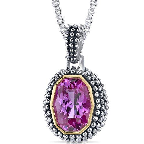 (Barrel Cut 7.75 carat Created Pink Sapphire Sterling Silver Rhodium Nickel Finish Antique Style)