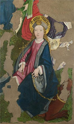 [The High Quality Polyster Canvas Of Oil Painting 'Circle Of The Master Of Liesborn - Saint Margaret,late 15th Century' ,size: 24x40 Inch / 61x102 Cm ,this High Resolution Art Decorative Prints On Canvas Is Fit For Wall Art Decoration And Home Artwork And Gifts] (Rugged Texas Star Knob)