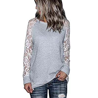 2018 Fashion Womens Casual Blouse Lace Tops Long Sleeve Crop O-Neck Pullover T-Shirt by TOPUNDER