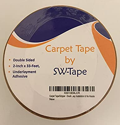Carpet Tape - Double Sided 2-Inch x 33-Feet - Indoor/Outdoor - Perfect for Area Rugs Wood Floors Hardwood Floors Throw Rugs & Carpets - Underlayment Adhesive Gripper - Anti-Slip - Easy Installation