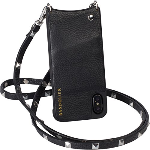 Case For iPhone X / iPhone10 | Real Black Leather Women Wallet With SILVER Hardware Phone Cover. Cross-Body Strap iPhoneX Mobile Holder for ID & Credit Cards. Carry Cell Handsfree. Sarah by Bandolier by Bandolier