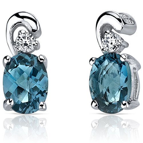 London Blue Topaz Earrings Sterling Silver Rhodium Nickel Finish CZ Accent by Peora