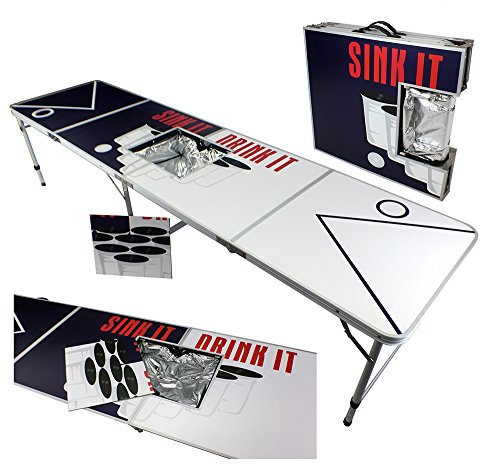 Beer Pong Sink Drink (NEW 8' ICE BAG ICY CHEST COOLER BEER PONG TABLE ALUMINUM PORTABLE ADJUSTABLE FOLDING INDOOR OUTDOOR TAILGATE PARTY GAME SINK IT DRINK IT)
