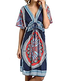 Womens V-Neck Cut Loose Bathing Suit Swimsuit Cover Ups Beach Dress (US 6-14)