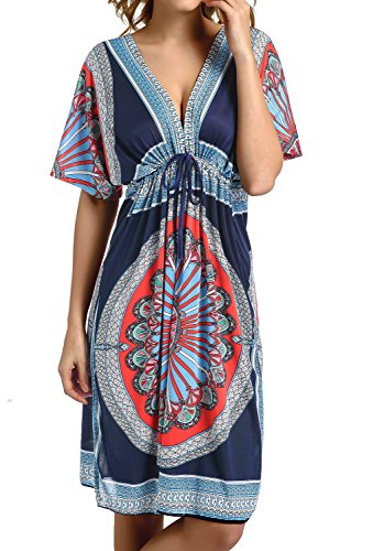 CHERRY CAT Colorful Cut Loose Swimsuit Cover-ups Swim Cover Ups Plus Size Clothing Beach Dress (Navy)