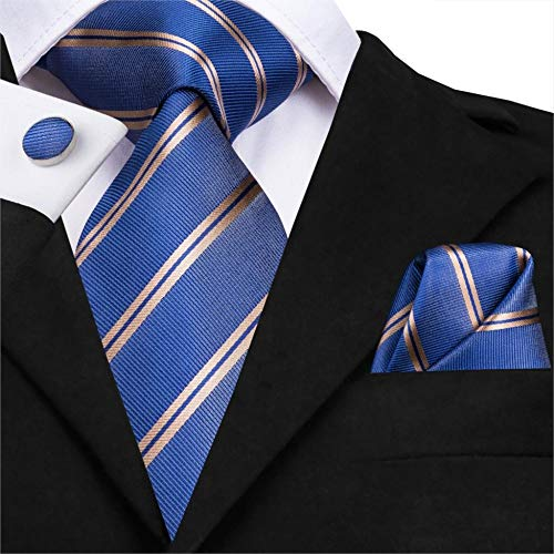 YUANZYPS Bow Tie Suit,Men Tie Woven Silk Necktie New Blue Striped Luxury Party Wedding Classic Fashion Pocket Square Cufflinks Tie Set