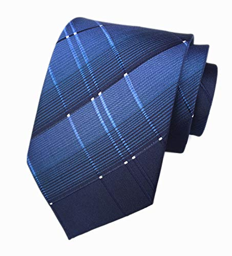 Navy Blue Mens Boy Ties Stylish Check Pattern Skinny Neckties Gift for Boyfriend