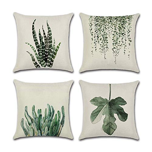 INSHERE Farmhouse Set of 4Pcs Green Leaf Plants Throw Pillow Covers Tropical Fern Linen Cushion Cover Cases Leaves Decorative Square Cotton Case for Bed Sofa Car Coffee Outdoor 18x18 inches - Green Square Cushion Pillow