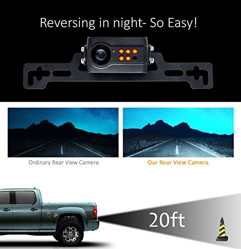 Wireless Backup Camera System, IP69K Waterproof Wireless License Plate Rear View Camera, Night Vision and 4.3'' Wireless Mirror Monitor for Cars, Trailer, RV, Pickup Trucks, Cargo Vans, etc. by yuwei (Image #4)