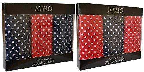 10 Paquets De 3 Hommes Bleu & Rouge Spot Imprimer Mouchoirs 100 % Coton, Couleurs Assorties