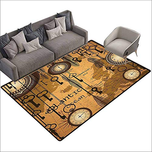 Outdoor Kitchen Room Floor Mat Antique Decor Collection,Antique Background with Map Clocks and Feathers Time Classics Country Style,Peru Sienna Brown 80