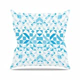 Kess InHouse Vasare Nar Light Blue Geometric Digital Blue Outdoor Throw Pillow, 18'' x 18''