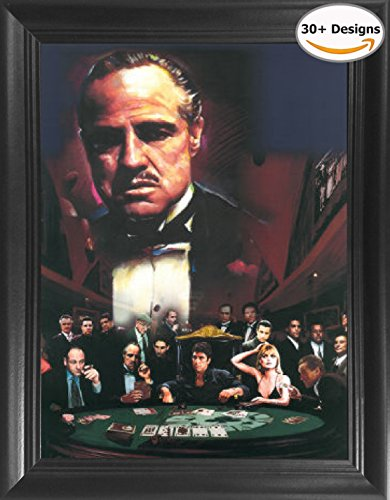 Scarface Framed Poster (THE GODFATHER Mob Bosses Soprano Scarface Goodfellas Framed 3D Lenticular Picture - 14.5x18.5