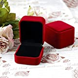 lightclub Rustic Personalized Vintage Retro Country Style Jewelry Earring Ring Display Storage Organizer Square Lid Open Case Gift Box for Proposal for Wedding Ceremony for Jewelry Gift Red