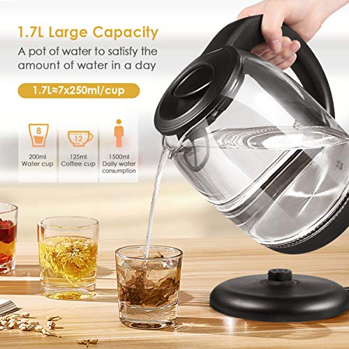 Electric Kettle, Electric Kettle Cordless Glass Cordless Fast 1.7 Liter Cordless with LED Indicator Light Hot Water Dispenser (BPA Free)