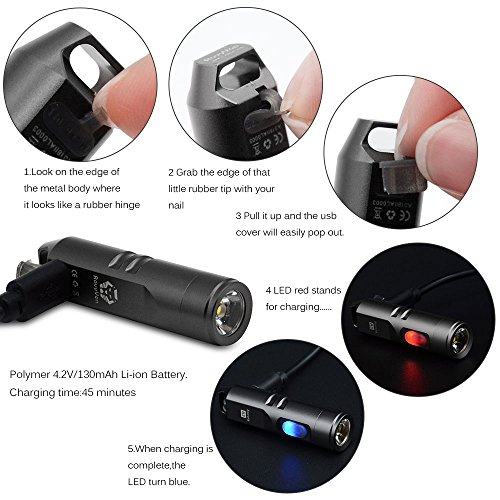 550 Lumens Super Bright Outdoor EDC Mini Keychain Rechargeable LED Flashlight,Hard Anodizing Aluminium Alloy Built-in Li-ion Battery 45 Minutes Fast Charging,Waterproof IPX-65 Small Torch,A3(Gun Grey) by RovyVon (Image #4)