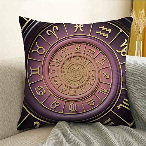 FreeKite Silky Pillowcase Super Soft and Luxurious Pillowcase Zodiac Horoscope Signs with Inner Circles Shell Like Swirls Image W16 x L24 Inch Purple Pink Black and Gold