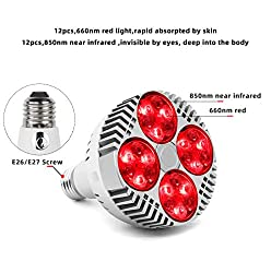 48W Red Light Therapy Bulb, 660nm and Near Infrared 850nm Led Infrared Light Heat Lamp for Massage Body Therapy Neck Pain Muscle Pain Relief Increased Blood Circulation