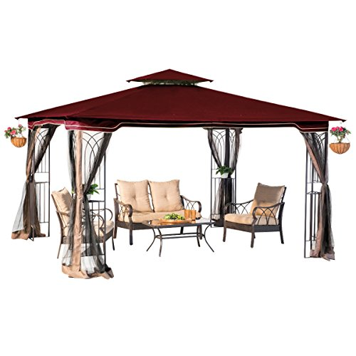 sunjoy 10 x 12 Regency II Patio Gazebo with Mosquito Netting, Maroon