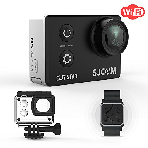 SJCAM SJ7 Star 4K WiFi Camera Action Camera 16MP Gyro Image stabilization with 166 Wide-Angel Touch Screen WiFi Sports Camera Supports External Microphone, Included Remote Wrist Watch