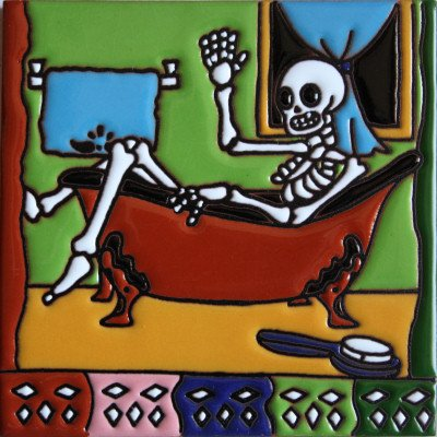 6x6-taking-a-bath-day-of-the-dead-clay-tile