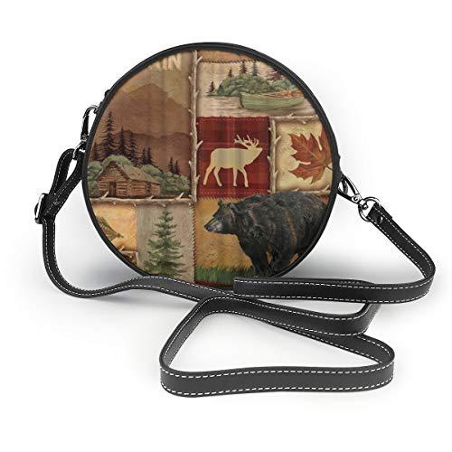 (Rustic Lodge Bear Moose Women Crossbody Bags, Leather Zipper Shoulder Bag Round Cell Phone)