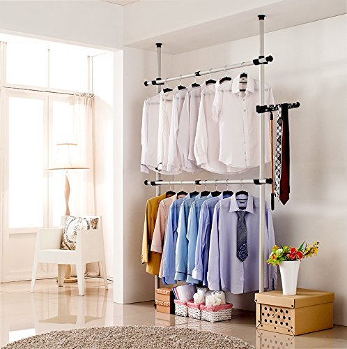 Portable Indoor Garment Rack Tools-free DIY Coat Hanger Clothes Wardrobe 2 Poles 2 Bars. Heavy Duty Stainless Steel Poles and Bars. 60kg Loading per Horizontal Bar. Free 105cm Reach Hook Included.Space Fit and Saver. by GoldCart (Image #5)