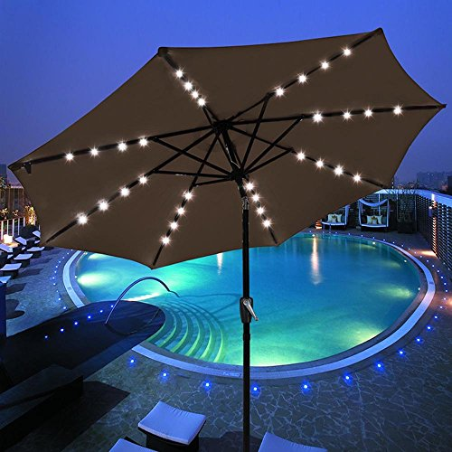 Yescom Solar Umbrellas Patio Umbrella 9 FT LED Umbrellas 32LED Lights Tilt and Crank Outdoor Table Umbrellas Chocolate ()