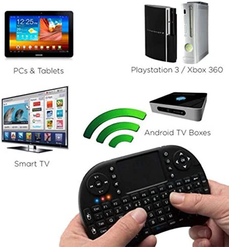 Calvas Mini Wireless Keyboard 2.4Ghz English Russian 3 Colour Air Mouse with Touchpad Remote Control Android TV Box Color: English