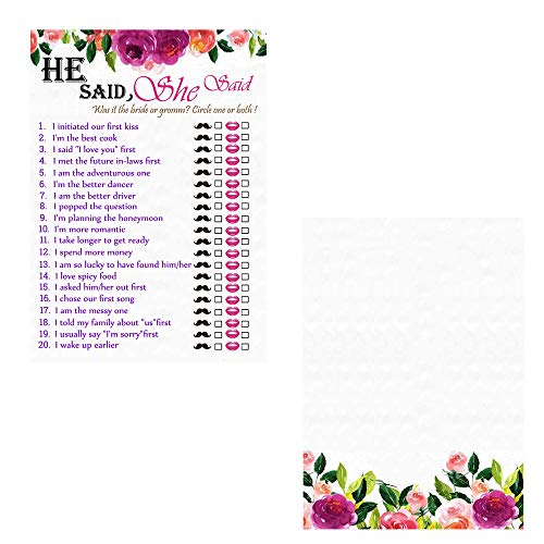 Neepanda 50 Floral Bridal Shower Game Cards - He Said She Said for Wedding Shower Engagement Anniversary Bachelorette Party Game Idea, Funny Rehearsal Dinner Guessing Question, 6X3.5 inches -