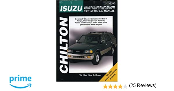 Isuzu amigo pick ups rodeo and trooper 1981 96 chilton total isuzu amigo pick ups rodeo and trooper 1981 96 chilton total car care series manuals chilton 9780801991349 amazon books fandeluxe Images