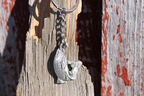 Hastings Pewter Company Lead Free Pewter Trout Fish Keychain Made in Michigan key - Free Trout
