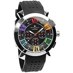 Salvatore Marra Men's Quartz Analog Chrono Calendar Black Watch