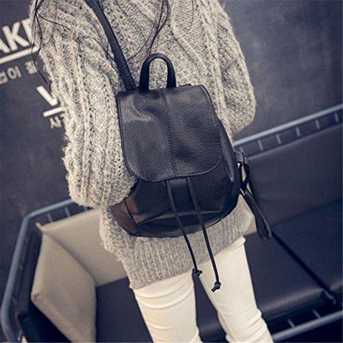 LAAT Frauen Freizeit Rucksack Mode Leder Schulter Rucksack Schule Rucksack Drawstring Reise Satchel Taschen Moderne Tote für Teenager Mädchen in Schwarz