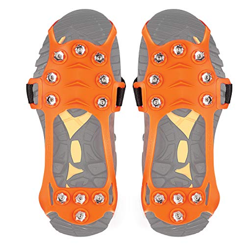 Easy Grip Walking Shoes - Wirezoll Traction Cleats, Anti Slip 11 Teeth Stainless Steel Durable Silicone Crampons, for Walking, Jogging, Hiking, Mountaineering Ice Snow Grips (Orange, Medium)